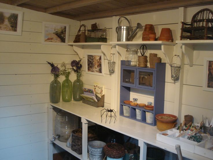 Inside garden shed inside potting shed posh sheds for Shed interior ideas