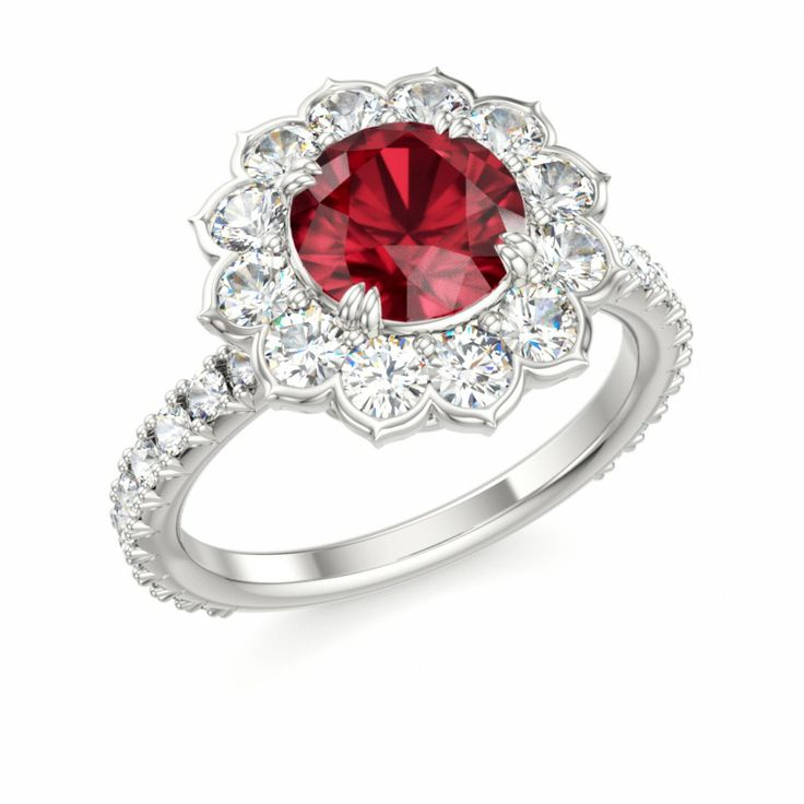 Halo Engagement Ring with Ruby and Diamond #ruby # ...