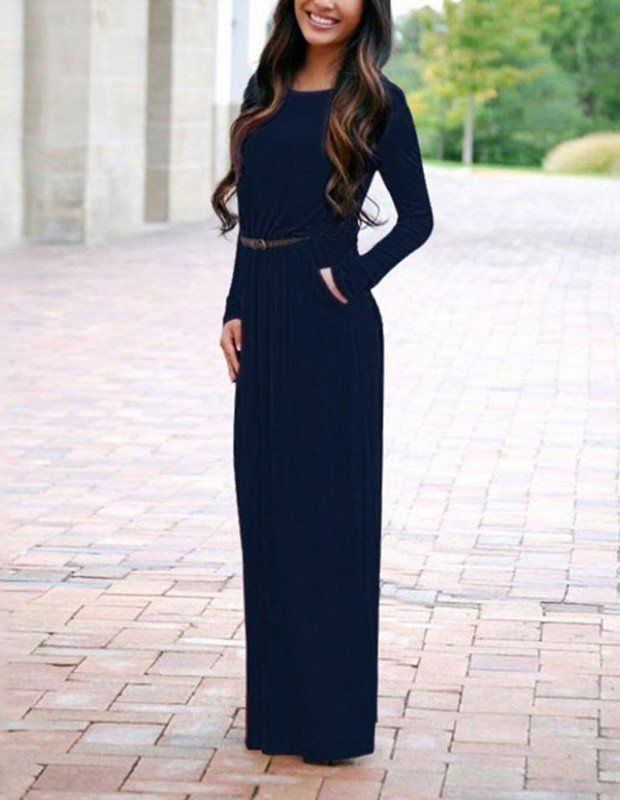 Leisure Dark Blue Loose Long Sleeve Belted Fall Maxi Dress With Pocket