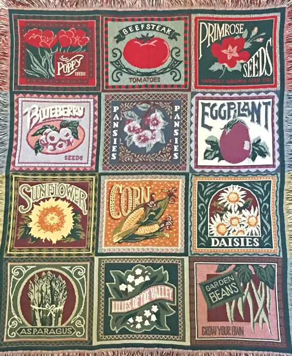 Vintage Goodwin Weavers Throw Blanket Flower And Vegetable Seed