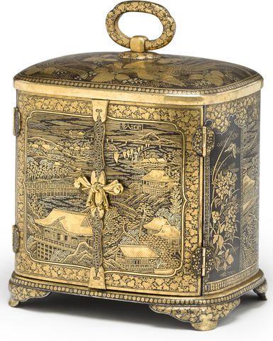 A small gold damascened iron cabinet (kodansu) By the Hattori company, Meiji period (late 19th century)