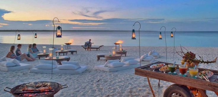 Mnemba Island Lodge Exclusive and initmate, this award-winning camp consists of just ten seaside suites. Scuba diving, snorkelling, and kayaking are all offered- or simply relax and soak up the spectacular surroundings.