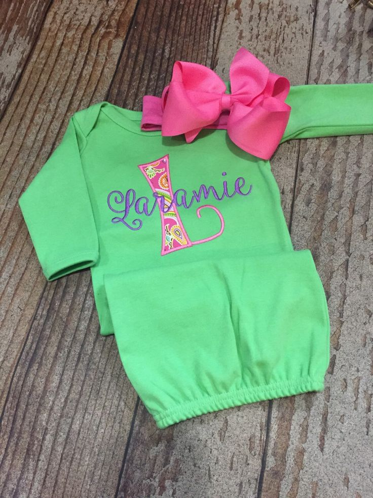 baby girl coming home outfit  personalized gown  monogrammed gown and bow  appliqu u00e9  baby shower