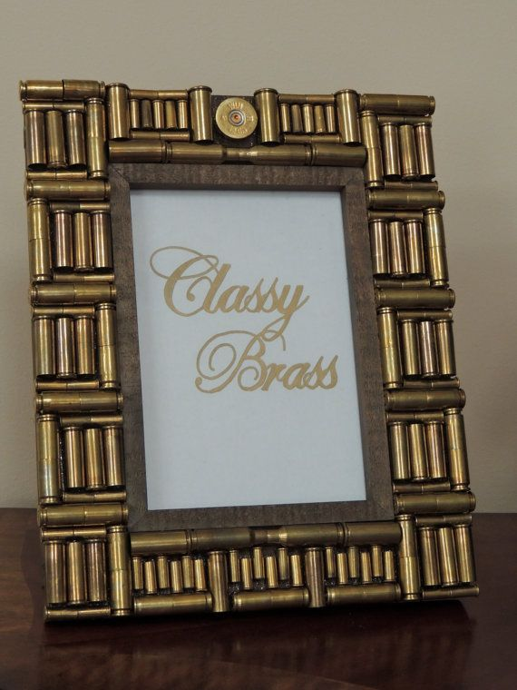 5x7 Bullet Frame Brass Casing and Shotgun by ClassyBrassDesigns, This is one of the frames that I made and have for sale on etsy right now!