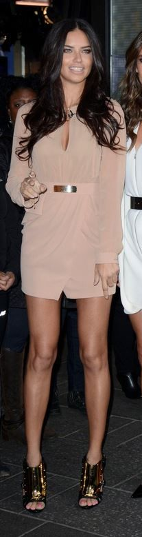 Who made Adriana Lima's nude dress and gold plate sandals that she wore in New York on November 3, 2014?