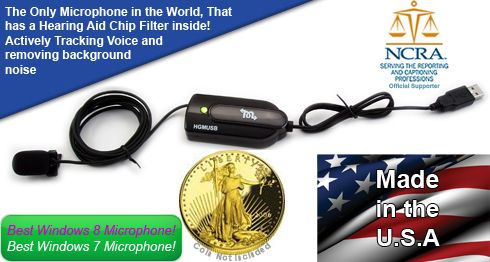 Martel USB Court Reporting Microphone is the word's best selling, most widely used USB court reporting microphone.The Top microphone for Court Reporters