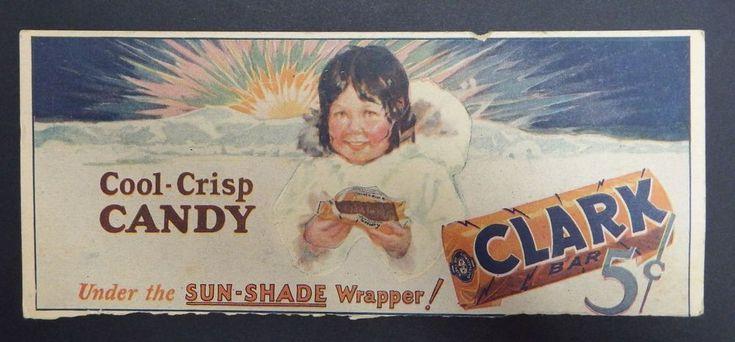 Vintage D L Clark Candy Bar Sign 5 cents