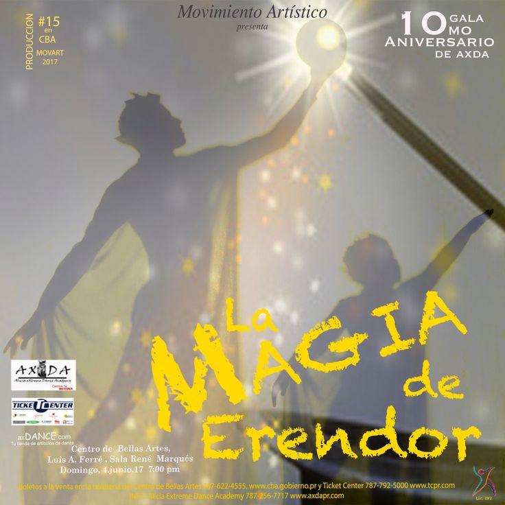AXDA: Ven y celebra nuestro 10mo Aniversario — Hoy domingo, 4 de junio de 2017 tienes una cita a las 7:00 pm en el Centro de Bellas Artes de Santurce para la gran celebración  de los 10 años de AXDA.   Ven y disfruta en familia de LA MAGIA DE ERENDOR, una historia de dos hermanos magos, reyes de Erendor.   Consigue tus boletos en Ticket Center y la boletería del teatro.  #axda10moaniversario #axda #lamagiadeerendor