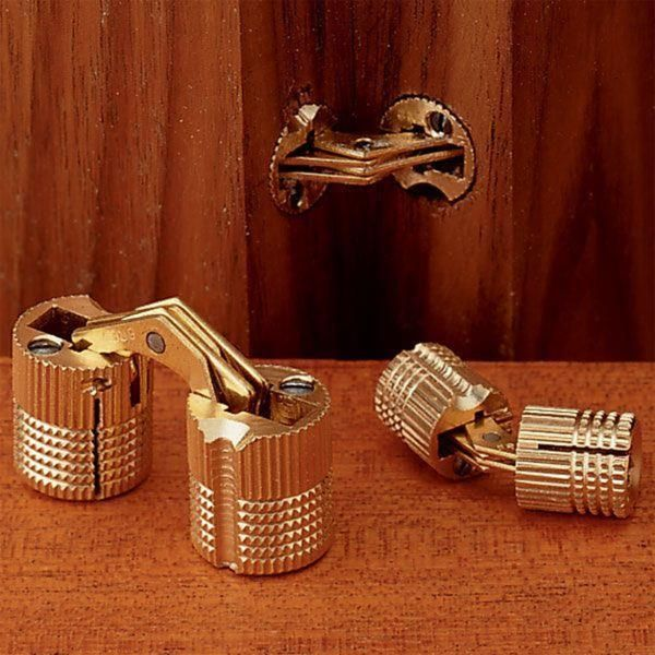 SOSS Invisible Barrel Hinges are made of solid brass with brass links. They are easily installed and open a full 180 degrees. SOSS Invisible Barrel Hinges are totally invisible from either side when the door is closed.