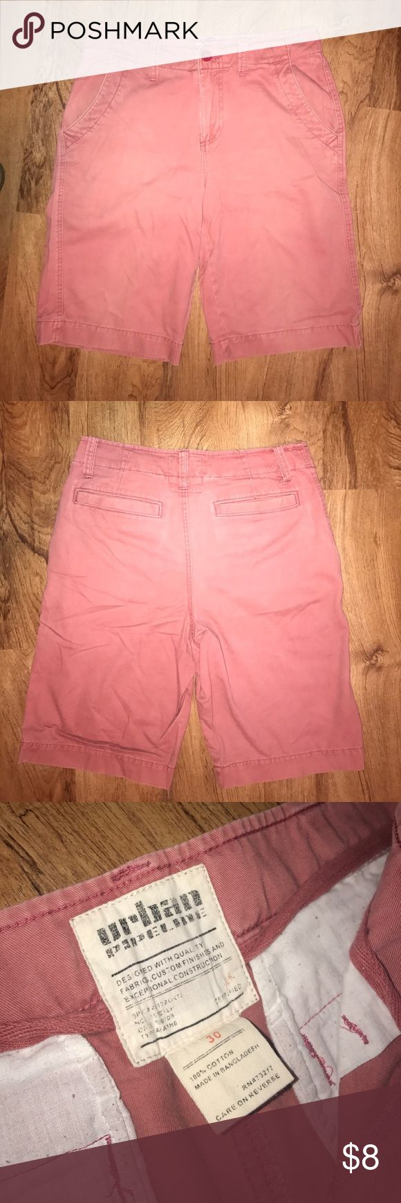 Distressed Red Chino Cloth Shorts Distressed Red Chino Shorts. Size 30 waist. Below the knee length. Urban Pipeline. 100% cotton. Made in Bangladesh. Great summer short, perfect for back to school. urban pipeline Shorts Flat Front