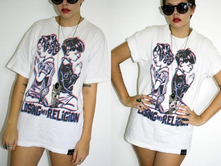 Vintage White Print Oversized T Shirt - 1990s Grunge Indie Festival