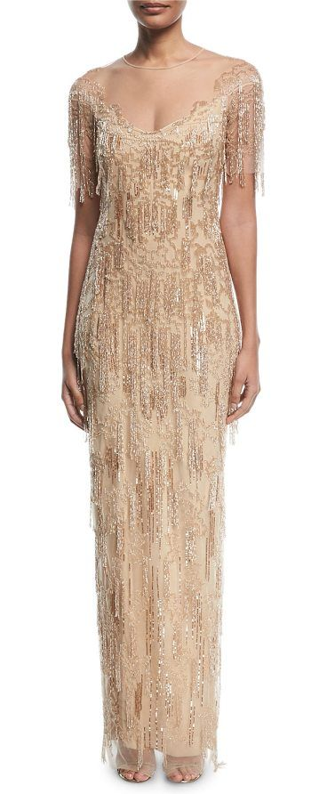 Pamella Roland Beaded Fringe Column Evening Gown In 2018 Gowns