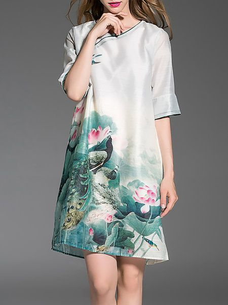 Shop Midi Dresses - Green Floral Half Sleeve Midi Dress online. Discover unique designers fashion at StyleWe.com.