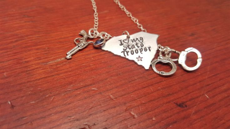 Hand stamped South Carolina state trooper  necklace-State Trooper wife-I love my State Trooper-Police wife-Law Enforcement by ByalittlebitofFaith on Etsy