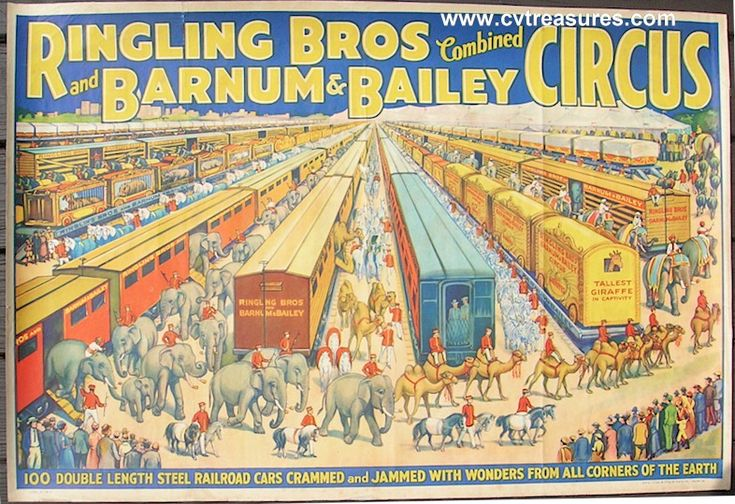 BARNUM AND BAILEY    Original Vintage Circus Poster  Classic Trains Style, circa 1930  www.cvtreasures.com , Conway's Vintage Treasures    $1250