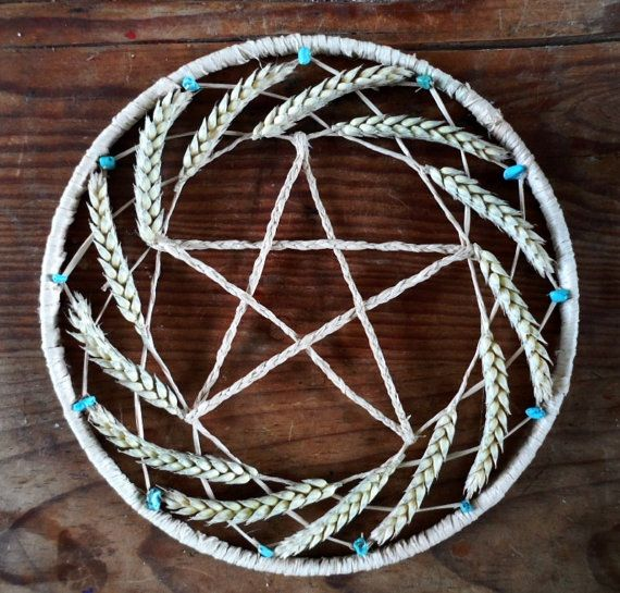 Pagan gift. Lughnasadh Lammas Wiccan Wheat Pentacle Wreath.. £9.50, via Etsy.