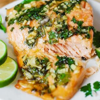 Jump to Recipe Print RecipeCilantro Lime Honey Garlic Salmon baked in foil – easy, healthy, gluten free recipe that takes 30 minutes from start to finish! Serve the salmon with rice or greens on the side! Cilantro, freshly squeezed lime, combined with honey and garlic and salmon creates a really winning combination of flavors! This...Read More