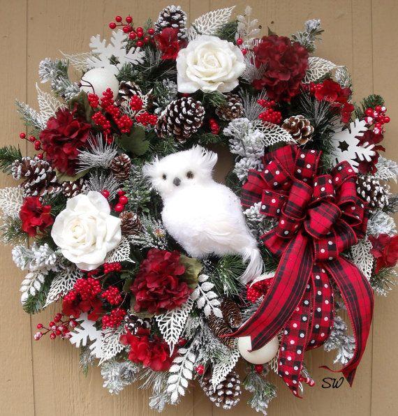 Winter WreathOwl WreathRed Black White by SeasonalWreaths on Etsy