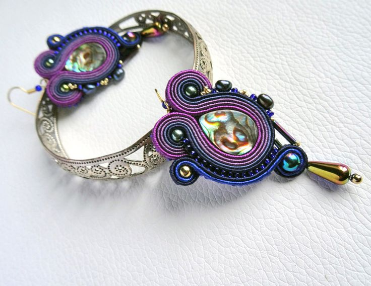 Soutache earrings with Paua shell w VAKARAS Jewellery by Slomkad na DaWanda.com