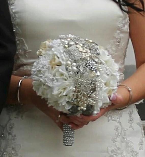 Custom made bridal brooch bouquet with silk flowers