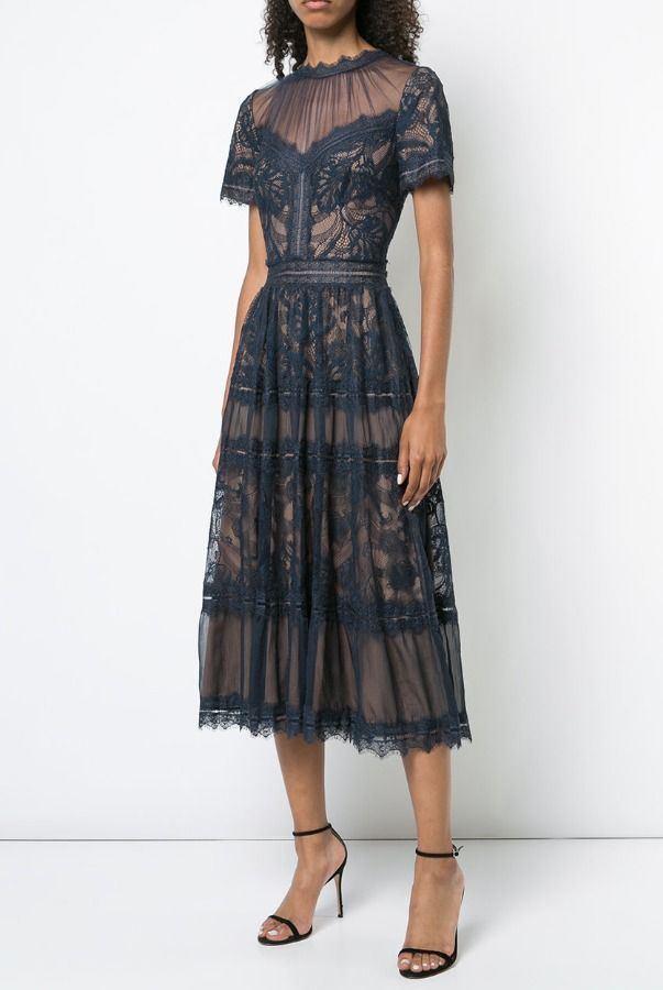 276b0e4d997 Tadashi Shoji Camilla Tea Length Midi Lace Dress in Navy Nude ...