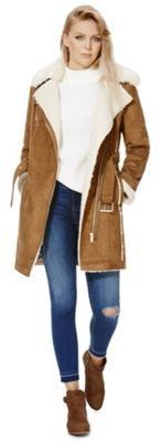 F&F Faux Shearling Coat, Women's