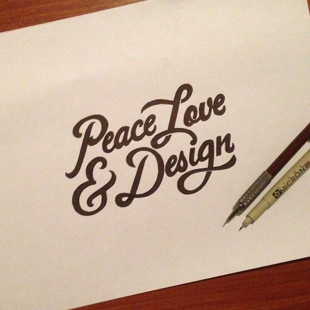 """Hand lettering """"Peace love and design"""" by Sparks 5 Designs"""