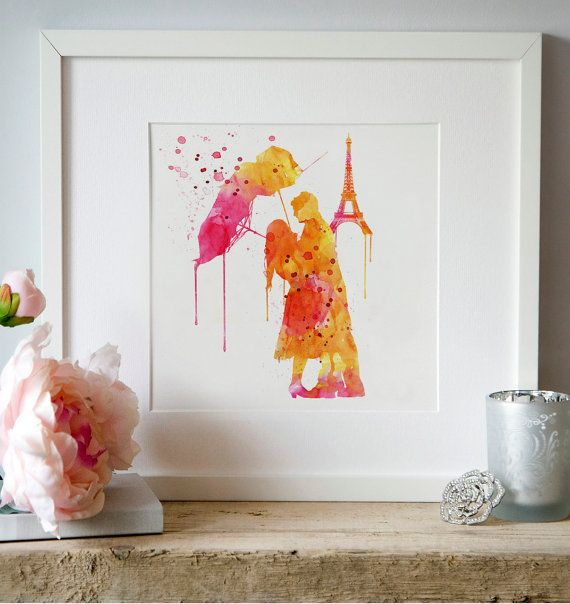 Paris Love couple Watercolor Wall art Digital by Artsyndrome