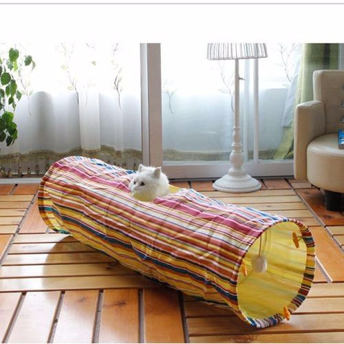 Cat Colorful Striped Playing Tunnel – Accessories & Products for Cats