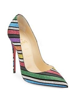 11e1344bfdce Christian Louboutin Pigalle Follies 100 Striped Glitter Suede Pumps ...