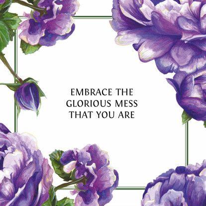 Stijlvolle en vrolijke kaart met paarse rozen. Tekst kan volledig aangepast of vervangen voor een eigen tekst. #quotecard #quote #card #floral #green #purple #greetingcard #squarecard #framedcard #ondersteuning