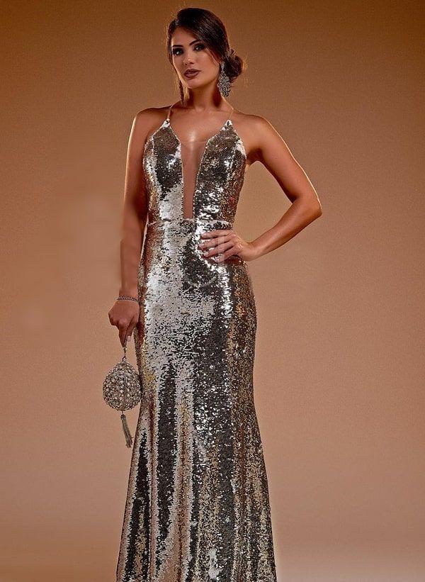 b5ea5fe9c vestido longo paete dourado Mãe Da Noiva, Vestido De Festa Longo, Decote,  Formatura