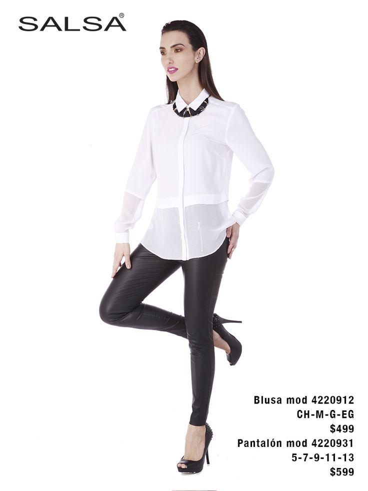 El mejor outfit para esta temporada: pantalón de cuero y camisa blanca ENCUÉNTRANOS EN LIVERPOOL Y FÁBRICAS DE FRANCIA. http://www.liverpool.com.mx/tienda/juniors/salsa/N-2aqvZ1z12s08
