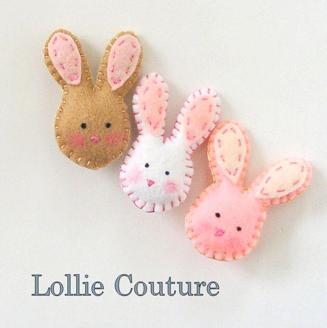 Bunny Felt Brooch, 2pc Pin felt animals,Easter Bunnies, gift for her white cream