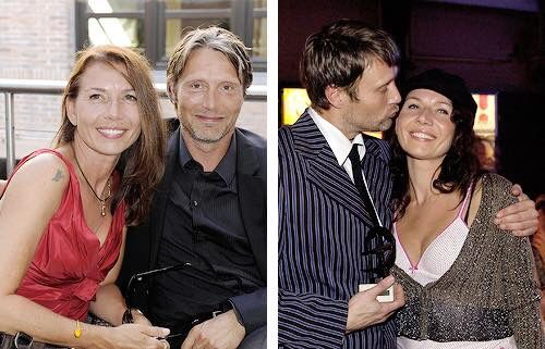 Mads Mikkelsen & wife, Hanne. Kind of smacks down all that crap about Scandinavian men being against commitment. She's his touchstone. You see he's always happier when she's with him. His brother seems to be the same way. Somebody raised those boys right.