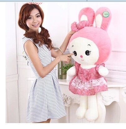 85.00$  Watch now - http://aliz4d.worldwells.pw/go.php?t=1944015772 - Stuffed animal 100 cm lovely beautiful skirt rabbit plush toy pink or orange throw pillow doll gift w3820