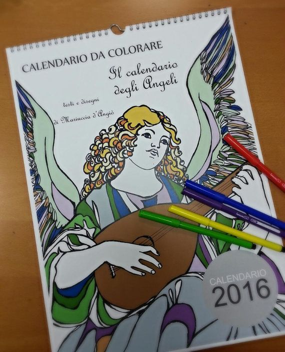 Calendario degli angeli da colorare