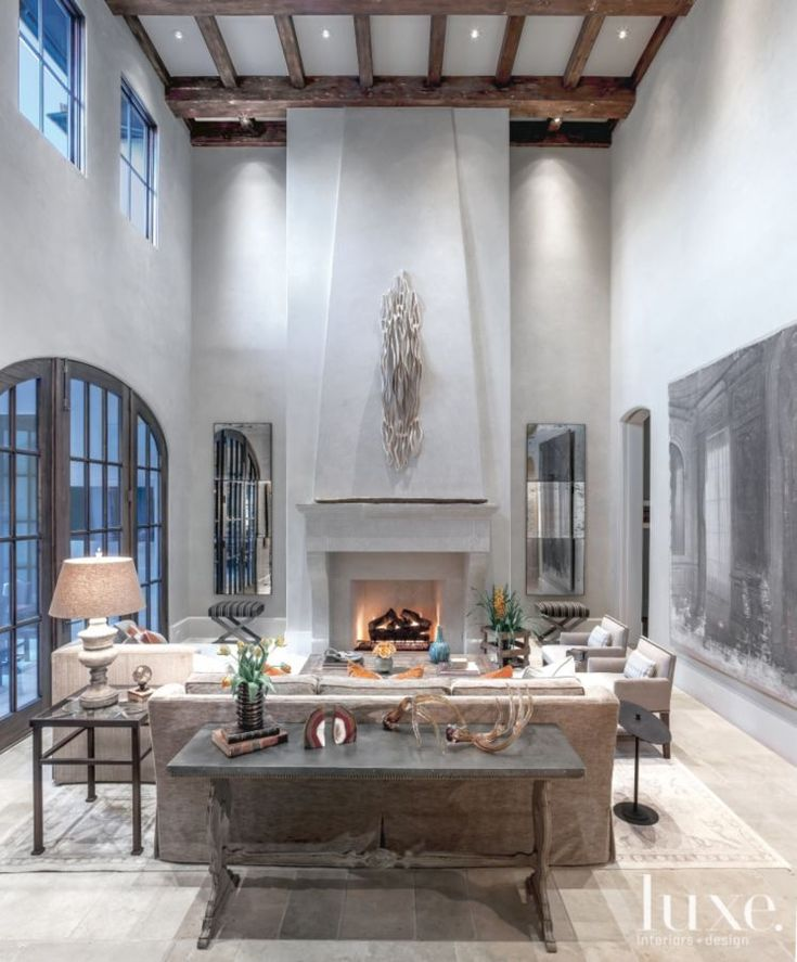 Mediterranean Gray Living Room with Floor-to-Ceiling Fireplace