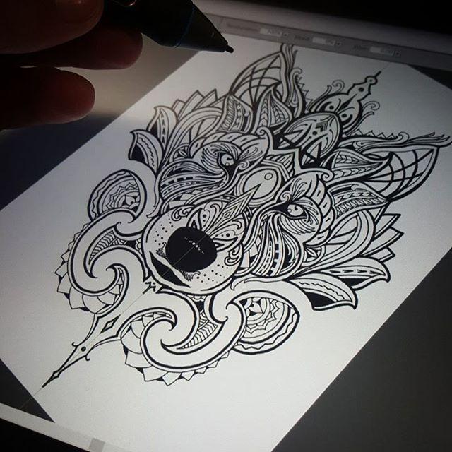 Late night design - Mosaic Maori Wolf ! Tattoogoldnz@yahoo.com #wolf #mosaicflow #newzealand
