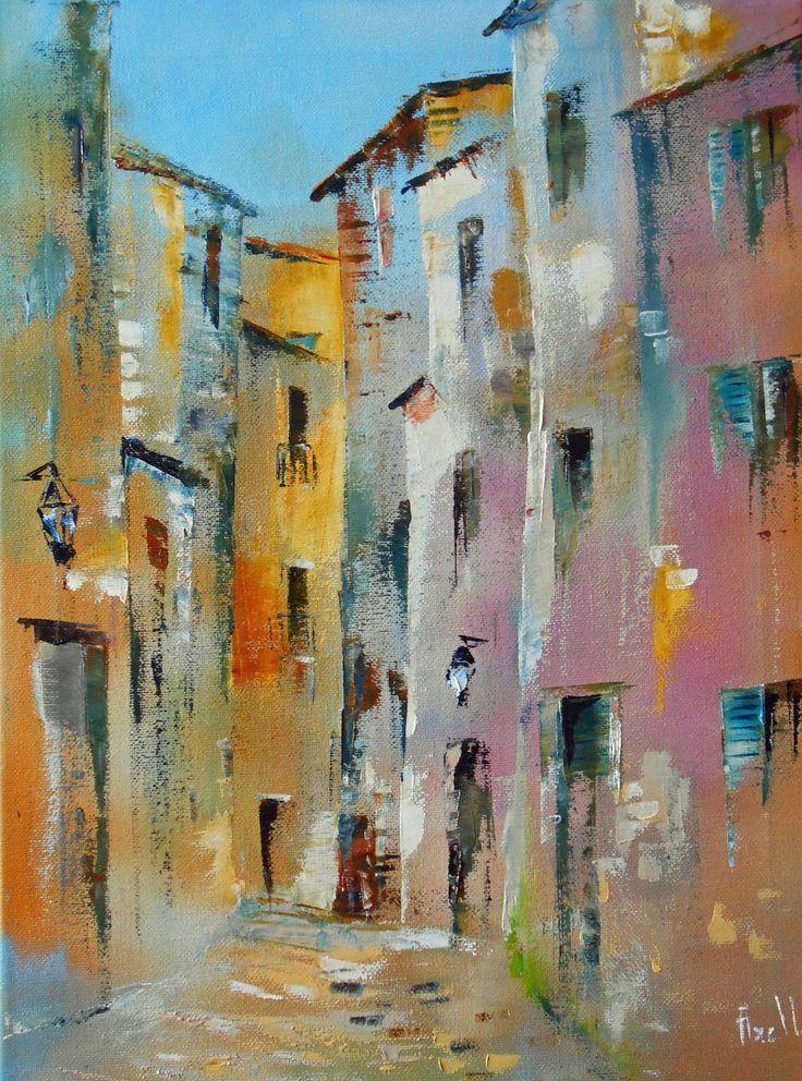 Tableau Dédale de rues d'un petit village - peintures-axelle-bosler : Peintures…                                                                                                                                                                                 Plus