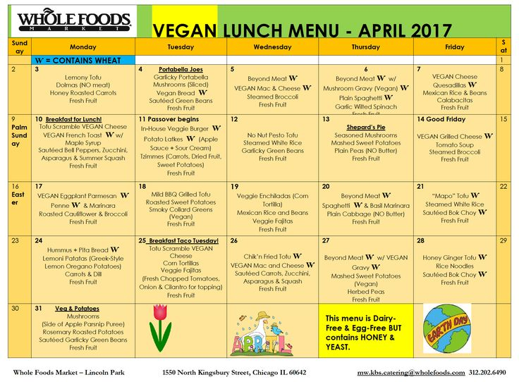 april school lunch menu (vegan)