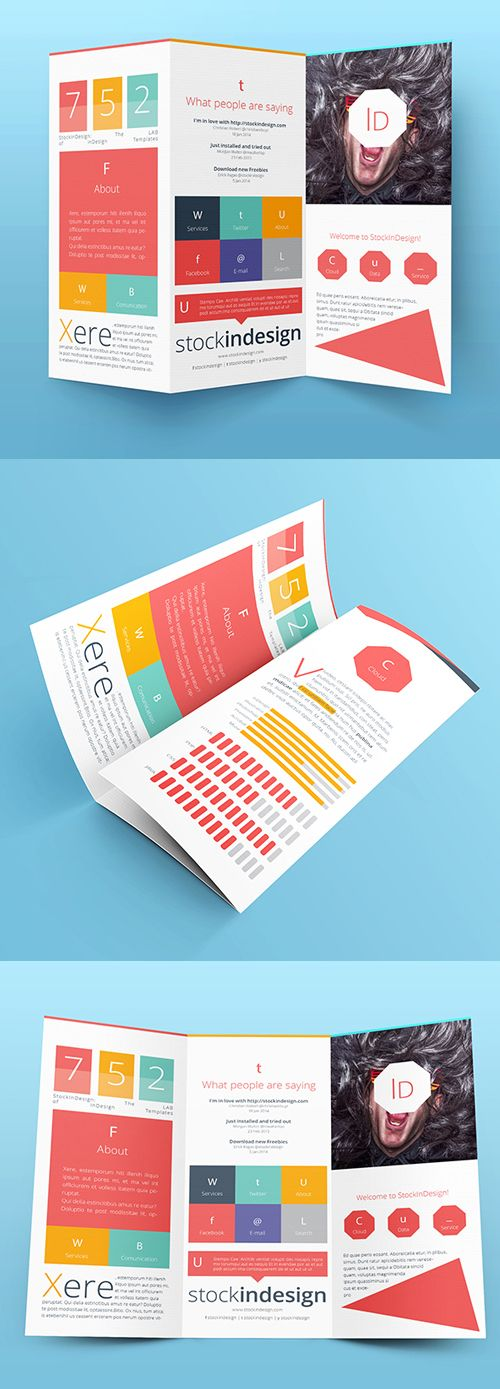 Tri-fold Brochure Mock-Up & Template #brochuretemplates #catalog #annualreport