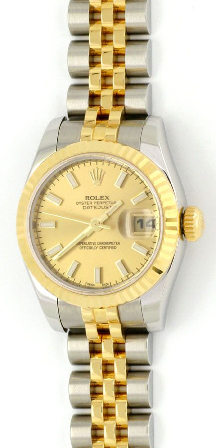 Foto 2, Rolex Datejust Damen-Uhr Stahlgold Automatik Ungetragen, U1595