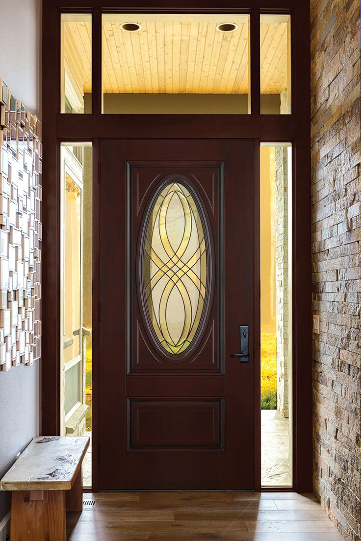 Harness The Beauty Of Nature With The Masonite Everland Cianne Oval Lite  Prefinished Smooth Fiberglass Prehung Front Door With No Brickmold.