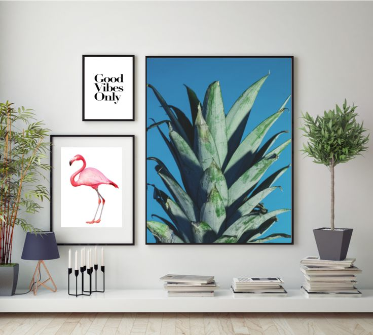 Tropical Prints and Posters. Featuring Pineapples, Flamingos, Fun Typography, Cactus