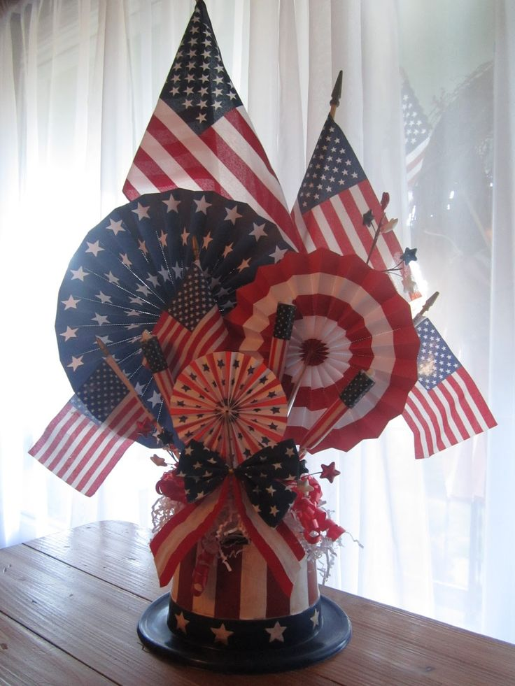 Neat 4th of July centerpiece - though instead of painting a plastic hat, I'd just buy one that was already red, white and blue.
