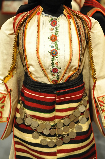 Macedonia Wedding Costume    This is a Macedonian woman's wedding dress from Kicheviya. The costume is displayed in an exhibition at the Museum of International Folk Art in Santa Fe, New Mexico