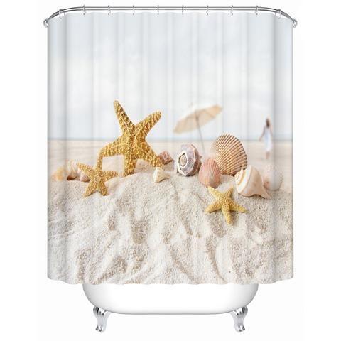 Tranquil Seashells and Sandy Beach Shower Curtain
