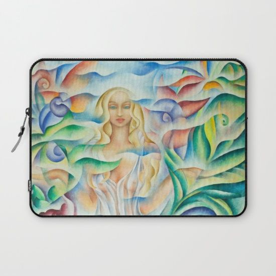 Laptop Sleeve. Design based on an oil painting by Monique Rebelle. Protect your laptop with a unique Society6 Laptop Sleeve. Our form fitting, lightweight sleeves are created with high quality polyester, optimal for vibrant color absorption. Design is printed on both sides to fully showcase the artwork while keeping your gear protected. Pulling back the YKK zipper, you'll find the interior is fully lined with super soft, scratch resistant micro-fiber. #art #spirituality #flowerart #gift