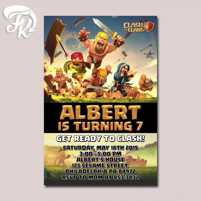 cheap0th wedding anniversary invitations%0A Clash Of Clans Free Gem Birthday Party Card Digital Invitation Kid Birthday u
